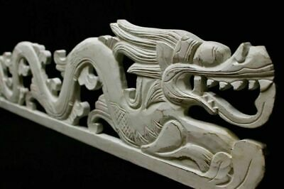 Cosmic Dragon Naga Panel Whitewash Rustic carved wood Bali Wall Art Right 39""