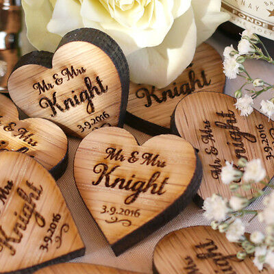 Personalised Wooden Mr & Mrs Love Hearts Wedding Table Decoration Favours