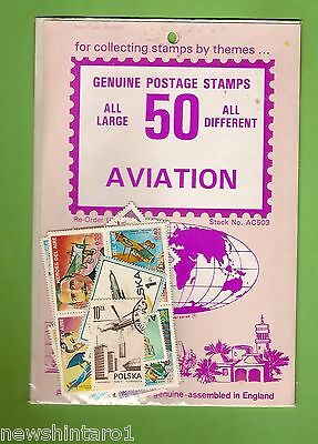 #d172. Pack Of 50 Aviation  Thematic Stamps