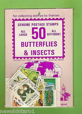 #d172. Pack Of 50 Insects & Butterflies  Thematic Stamps