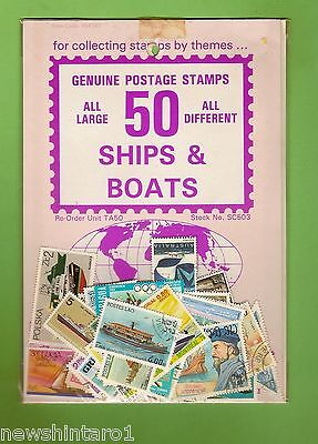 #d74. Pack Of 50 Ships  & Boats Thematic Stamps