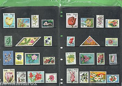 #t43.  Two Pages Of  Flowers   Thematic Stamps