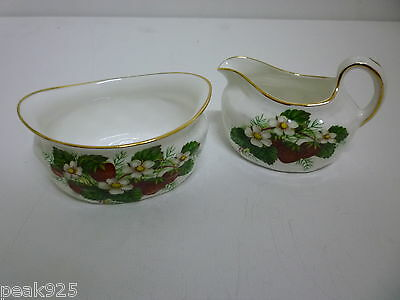 Hammersley Strawberry Creamer and Sugar Bowl inserts for Basket
