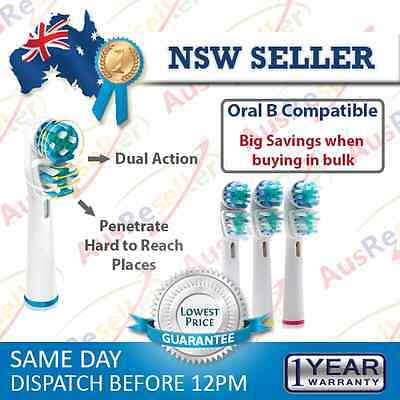 4 pcs Oral B Compatible Toothbrush Replacement Brush Heads Duel Clean