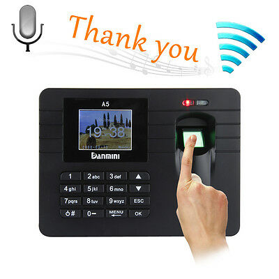 "A5 2.4"" TFT Fingerprint Time Attendance Clock Employee Payroll Recorder US"