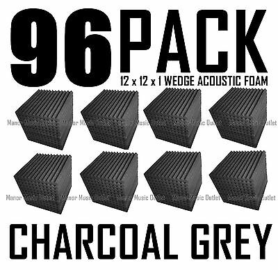 HUGE 96 Pack Acoustic FOAM Wedge Wall Tiles for Studios & Soundproofing 12x12x1
