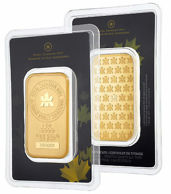 1oz Gold Bar - Royal Canadian Mint (RCM) .9999 Fine in Assay