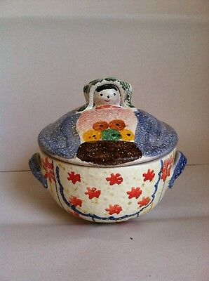 Hand Painted Pottery Serving Dish Or Sugar Bowl With Lid Hand Made Italy