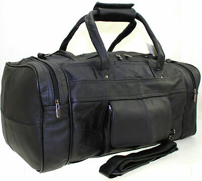 Large Genuine Leather Duffel Cabin Gym Sports Holdall Travel Bag Case Brown