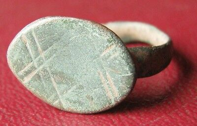 Authentic Ancient Artifact   Unidentified BRONZE RING SZ: 6 3/4 US 17mm 11911