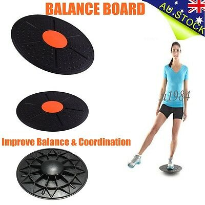 Black Wobble Balance Board Core Strength Fitness Rehab Yoga Pilates Disc Gym