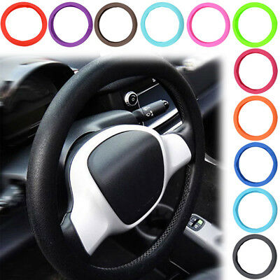 "14""-16"" Universal Leather Texture Car Auto Soft Silicone Steering Wheel Cover"