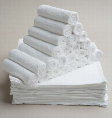 Bulk Save 50 x Budget Face Washer Wipe Quality Plain towels 100% Cotton 28x28cm