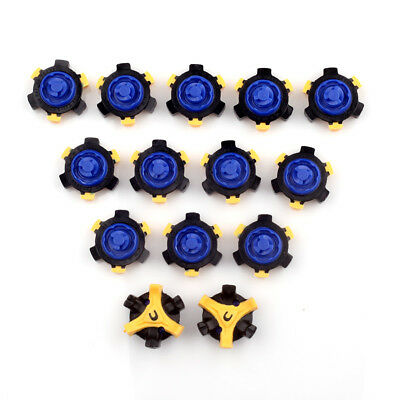 14pcs Golf Shoes Spike Replacement Fast Twist Tri-Lok For Footjoy Blue & Yellow