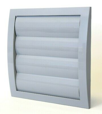 Grey Gravity Flaps 190mm x 190mm / 150mm with Fly Screen Duct Ventilation Cover