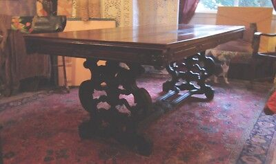 19Th Century Carved Walnut Antique Dining Table With Two Large Leaves 7 Ft. Long