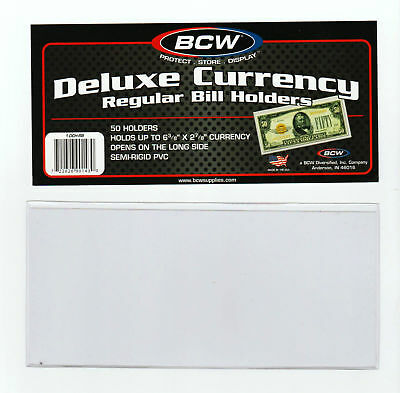 50 Regular  Bcw Deluxe Currency Sleeve Bill  Holders Paper Money Semi Rigid