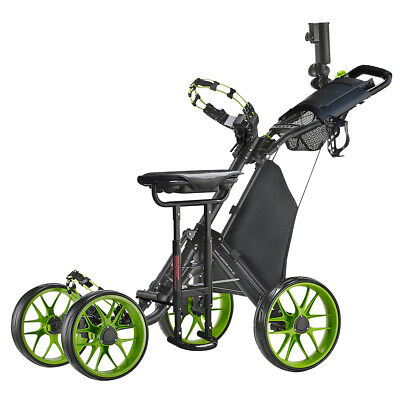 CaddyTek CaddyCruiser ONE v3 Folding 4 Wheel Golf Buggy Lime + Removable Seat