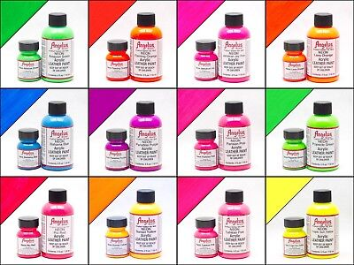 Neon Paint 12 Colors Angelus Acrylic Leather /Vinyl Paint /Dye Waterproof - 4 oz