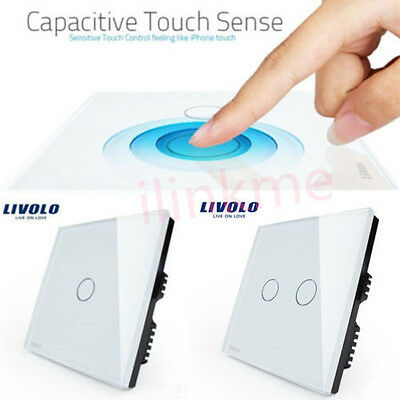 1/ 2 Gang Livolo Crystal Glass Intelligent Touch Switch Panel Control Home Light