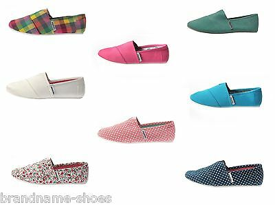 Ladies Womens Zapatillas Casual Slip On Canvas Red White Black Navy Flats Shoes