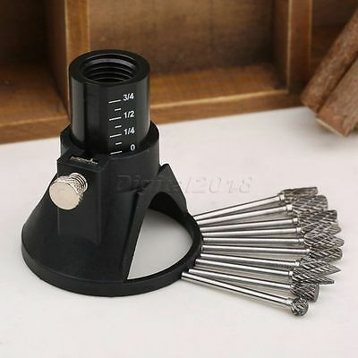 10Pcs HSS Wood Milling Burrs +1 Nose Cap Drill Rotary Locator Bit Set For Power