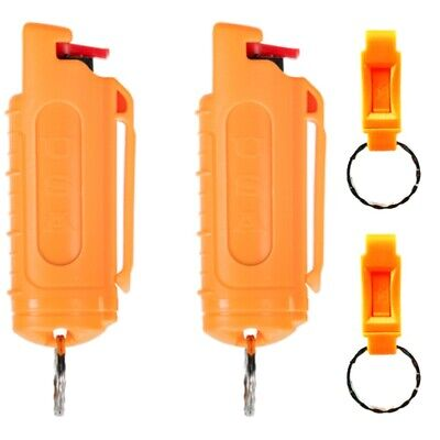 Police Magnum .50oz mace pepper spray 2 orange molded keychain 2 QR self defense