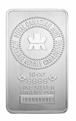 Royal Canadian Mint (RCM) 10oz Silver Bar .9999 Fine in Assay