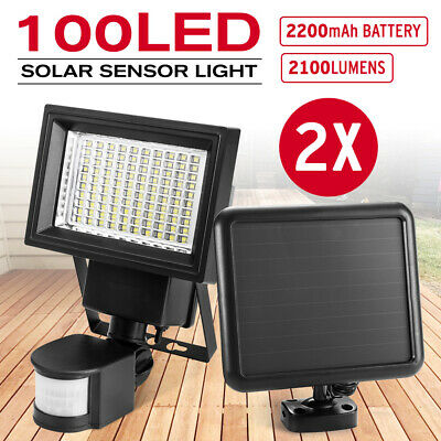 100 LED Ultra Bright Solar Sensor Light Security Motion Detection Garden Flood