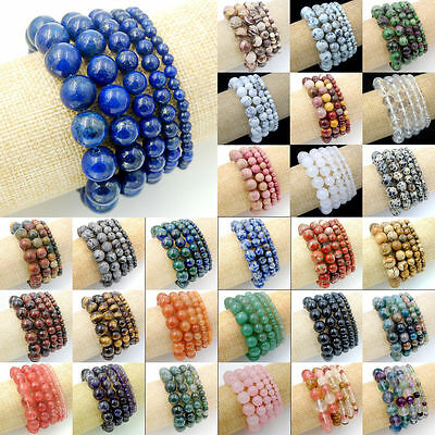 "Handmade Natural Gemstone Beads Stretch Charm Bracelet Jewelry 7.5""4,6,8,10,12mm"