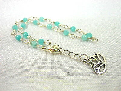 Amazonite Silver Wire Wrapped Anklet ~ Any Size