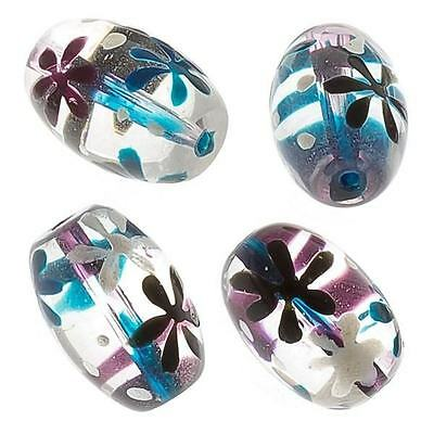 Green and Purple Flower Clear Oval Glass Beads 18mm Pack of 4 (E95/2)