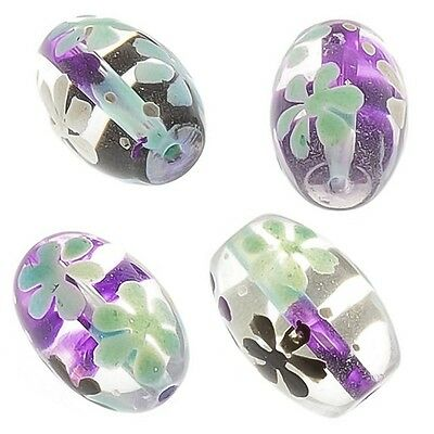 Purple And Blue Flower Clear Oval Glass Beads 18mm Pack of 4 (E95/1)