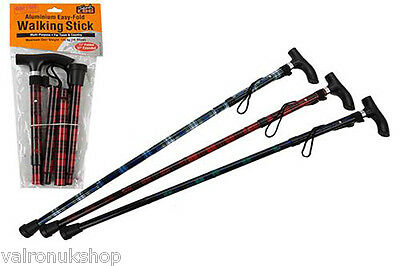 Tartan Print Folding Walking Stick With Derby Handle And Height Adjustable