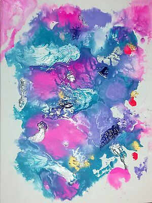Exquiste C Signed Hand Painted FRAMED Abstract Canvas Painting Original Art