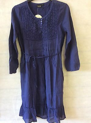 Navy Blue 100% Cotton Dress With Long Sleeve - Size 8