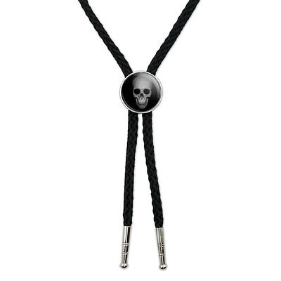 Human Skull - Front View Western Southwest Cowboy Necktie Bow Bolo Tie