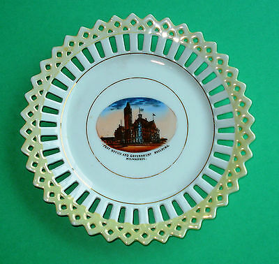 Vintage Souvenir Plate of Post Office & Government Building Milwaukee WI Germany