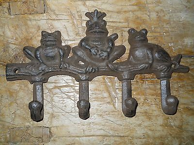 Cast Iron FROG Towel, Coat Hooks, TOAD Hat Hook, Key Rack King Pond