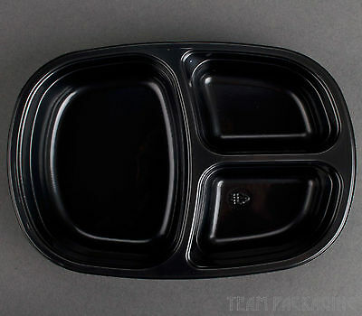 "Genpak 55027 Dual Ovenable 3-Compartment Food Pan 8 1/2""x6 5/8""x1 3/4"" 250/cs"