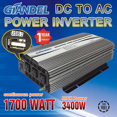 Power Inverter M Sine Wave 1700W ( 3400W Max) 12VDC-240VAC  With 1 Amp USB