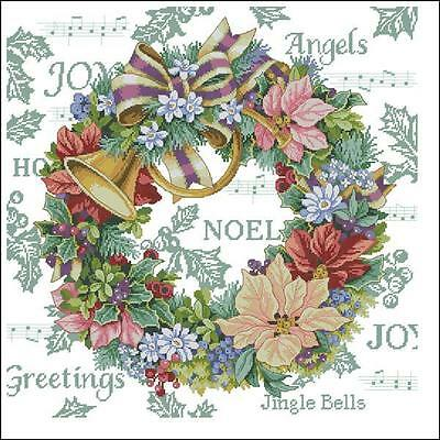 Merry Christmas' Harmony Wreath in Holidays@ RS floss-14Ct cross stitch kit