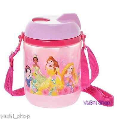 Japan Disney Store PRINCESS Shoulder Strap Kid Water BOTTLE with Straw 425ml