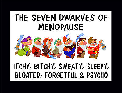 Funny Sign - The Seven Dwarves Of Menopause - Gift / Present For Mom Nan Aunty 7