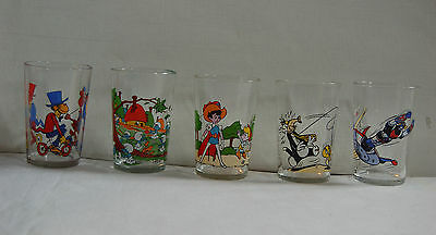Lot De 5 Verres Moutarde - Goldorak - Titi - Schtoumpfs - Cabu Etc