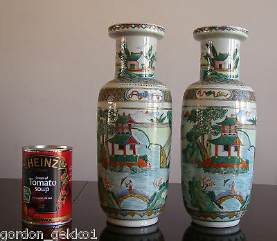 Antique Pair of Chinese Porcelain Famille Verte Rouleau Vases Kangxi Qing c1880