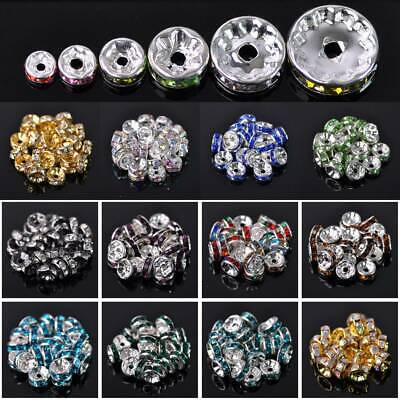 100pcs 4/5/6/8/10mm Rondelle Metal & Rhinestones Loose Crafts Spacer Beads lot
