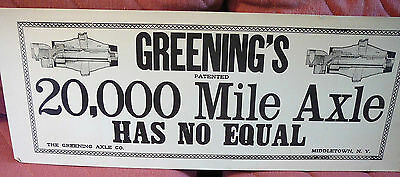 Cardboard ad sign - Greening's Axle - Middletown, NY