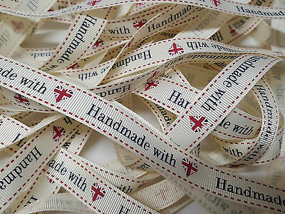 Grosgrain Ribbon Bertie`s Bows Made with  British Heart on Cream 16mm BTB038