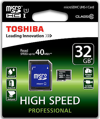 Toshiba 32Gb Carte Mémoire Micro Sdhc 32Go Classe 10 Memory Card 40Mb/s